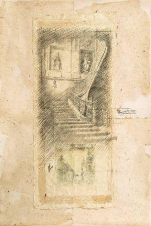 Étude pour «Une vie d'escalier» Techniques mixtes sur papier. 100x150 cm