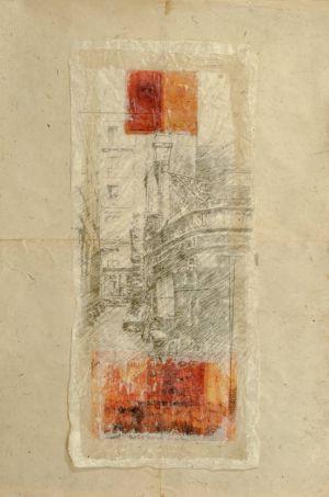 Étude pour «La ruelle et ses souvenirs». Techniques mixtes sur papier. 100x150 cm