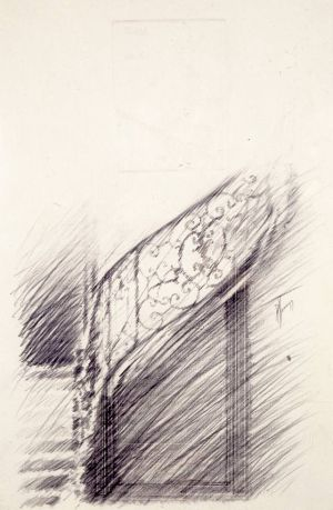 «Étude II d'escalier». Mine de plomb sur papier gaufré. 32x50 cm