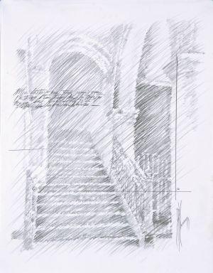 Étude pour «Escalier de la Vieille Havane IV». Mine de plomb sur papier. 30x25 cm