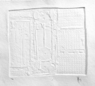 « Idéogrammes blancs ». Sculpture sur papier. 77x80 cm