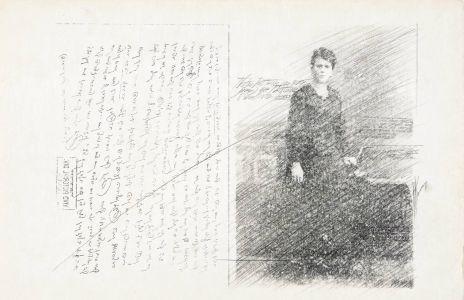 «La lettre». Techniques mixtes sur papier. 50x33 cm