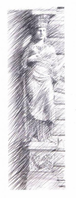 Étude pour «Cariatide». Mine de plomb sur papier. 50x150 cm
