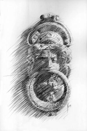 «Le heurtoir». Mine de plomb sur papier. 20x30 cm