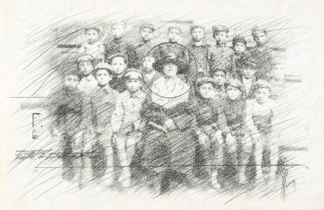 «Étude de classe». Mine de plomb sur papier. 50x33 cm
