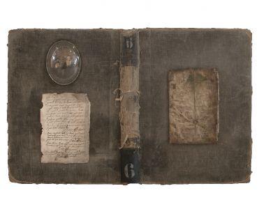 """""""Le livre de Sarah et Yukiel II"""". Techniques mixtes. 68x45 cm."""